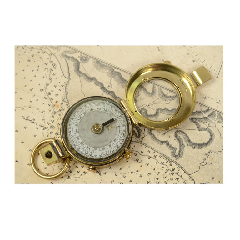 Brass Prismatic Bearing Compass, 1918 For Sale 1