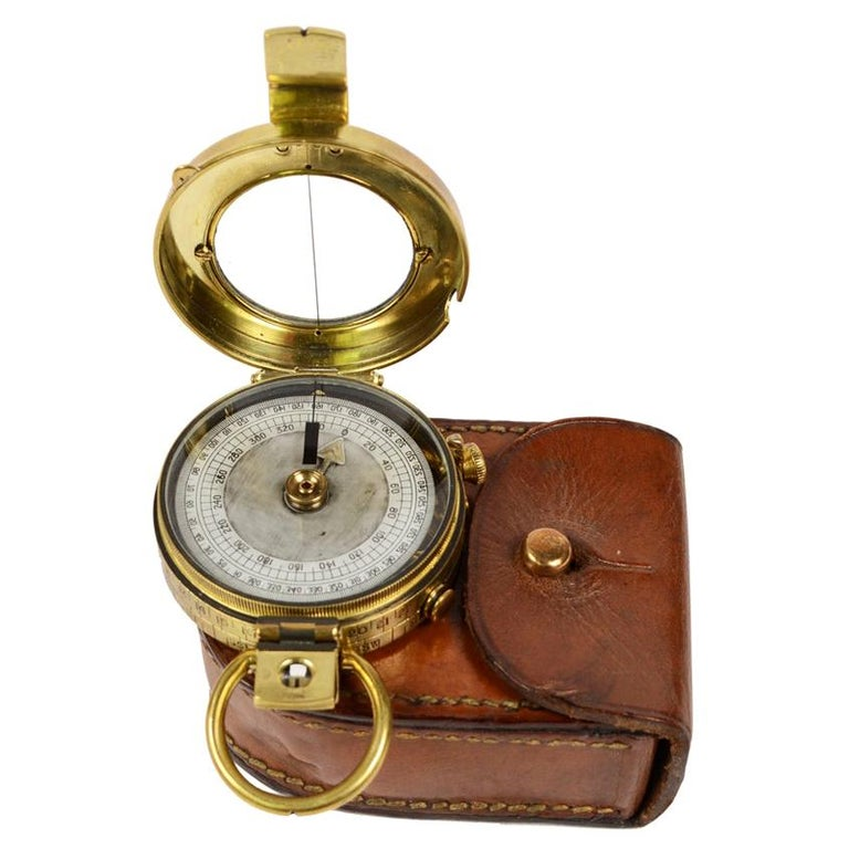 Brass Prismatic Bearing Compass, 1918 For Sale