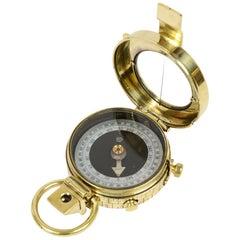 Brass Nautical Antiques Prismatic Bearing Compass UK 1916 Original Leather Case
