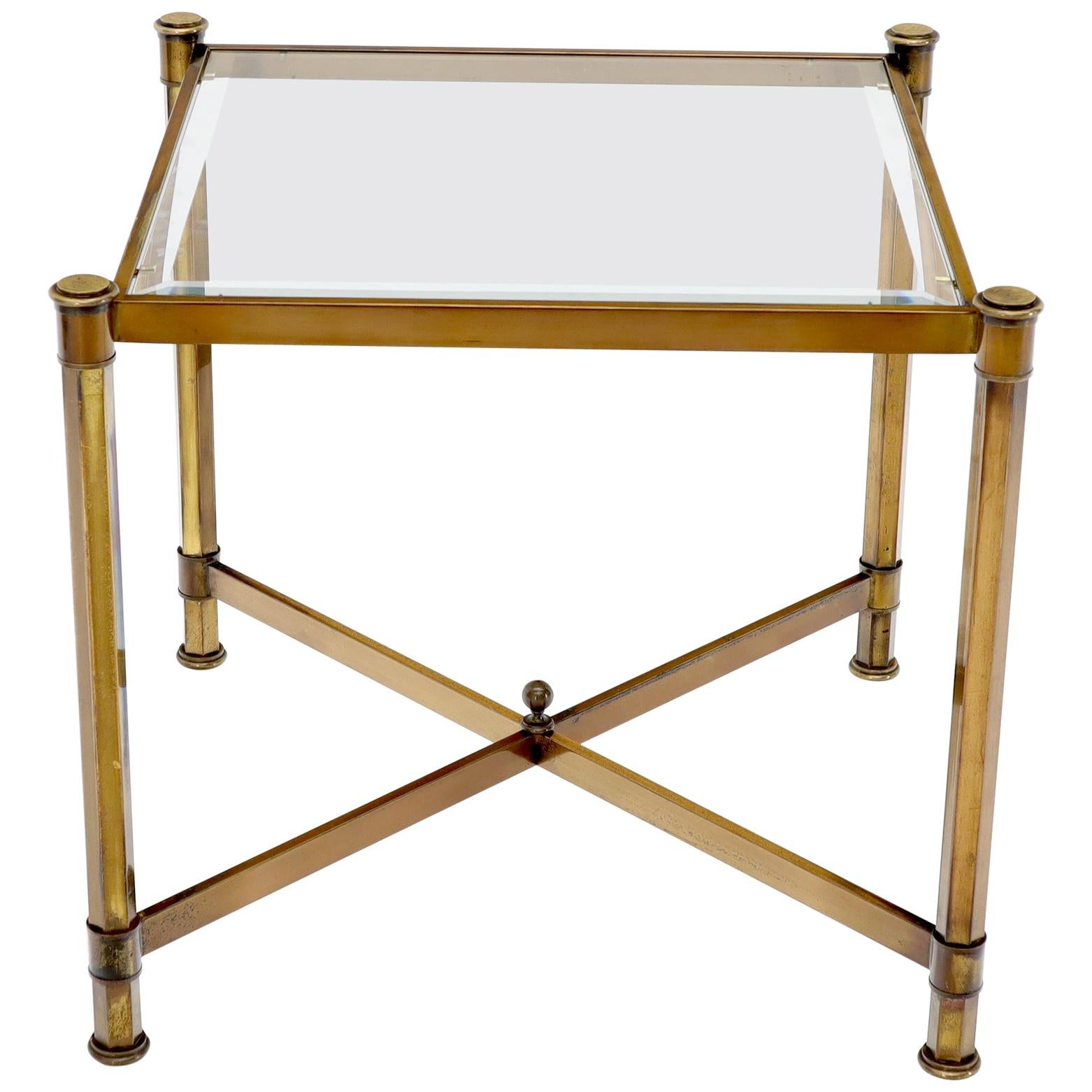 Brass Profile Base Glass Top Square Side End Occasional Table Mid-Century Modern