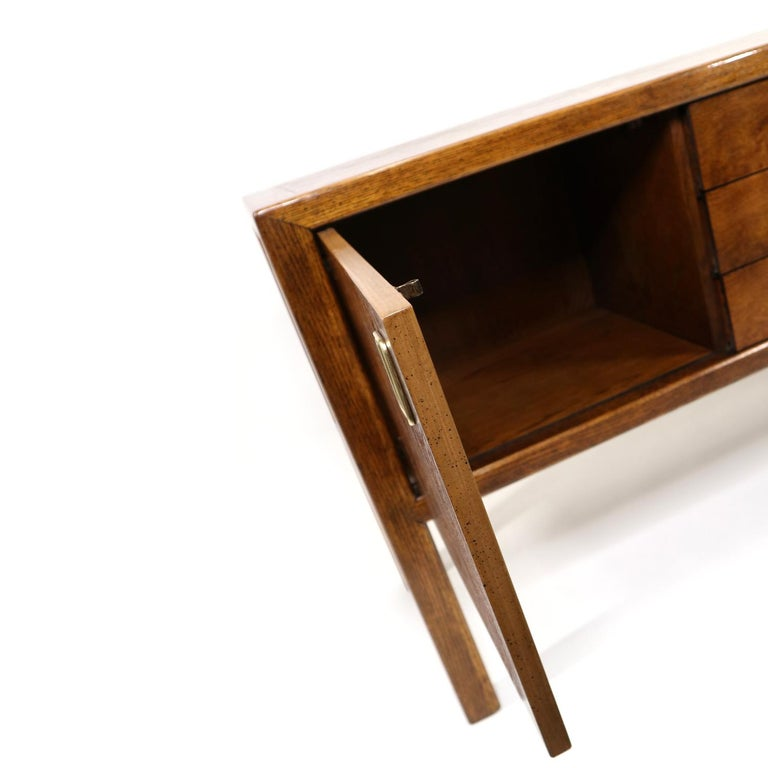 Brass Pull Oak Burl Wood Campaign Modern Credenza by Century Furniture, 1970s For Sale 4