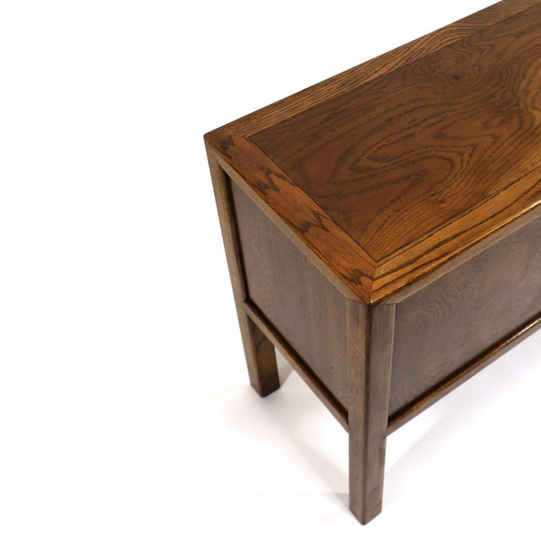 Brass Pull Oak Burl Wood Campaign Modern Credenza by Century Furniture, 1970s For Sale 6