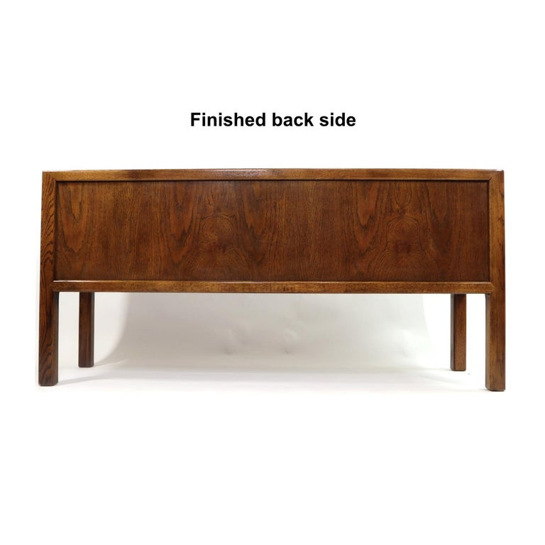 Hollywood Regency Brass Pull Oak Burl Wood Campaign Modern Credenza by Century Furniture, 1970s For Sale