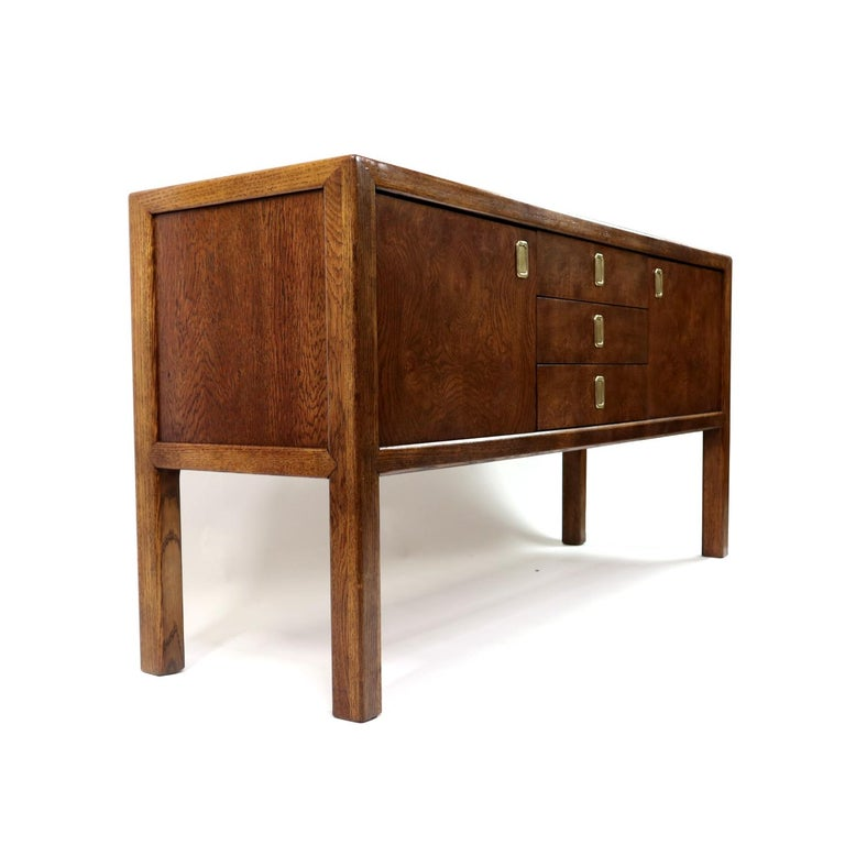 Brass Pull Oak Burl Wood Campaign Modern Credenza by Century Furniture, 1970s For Sale 1