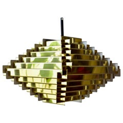Brass pyramid Hans Følsgaard Pendant Lamp Made in Denmark