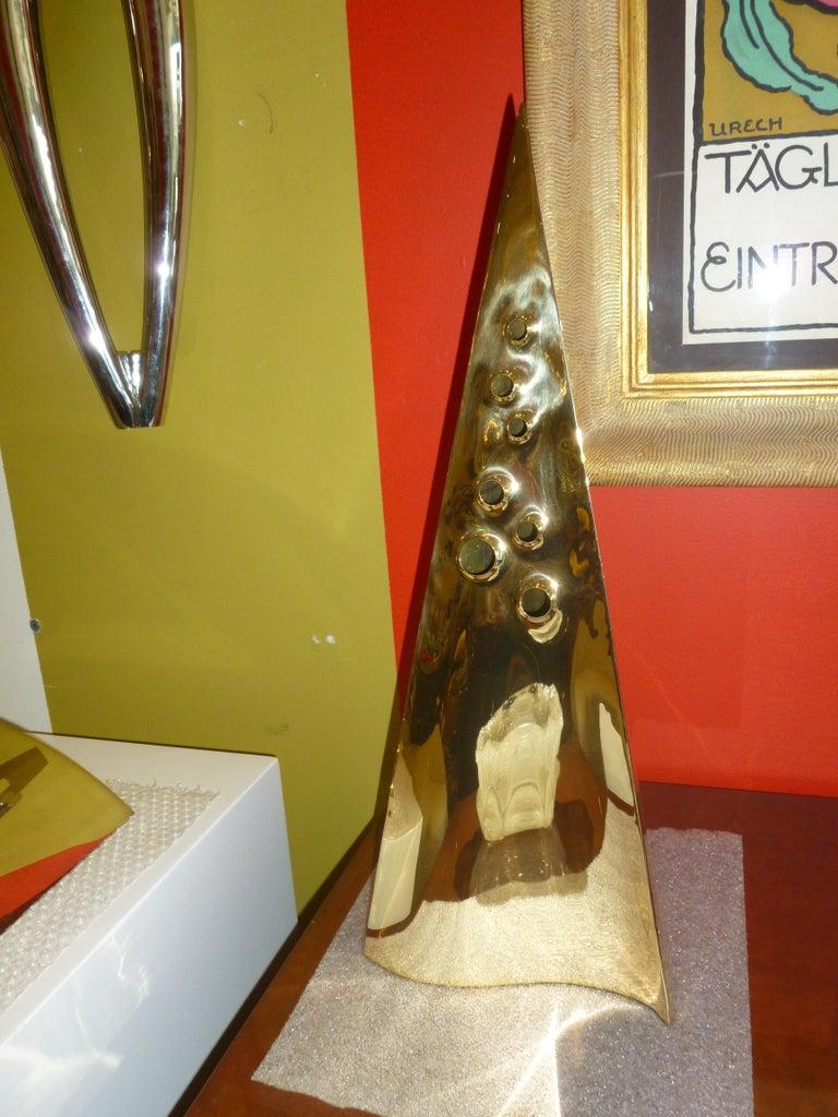 Brass Triangle Seven Hole Modernist Sculpture Vintage For Sale 5