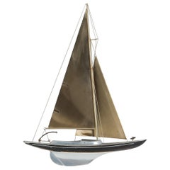 Curtis Jere Brass Racing Sail Boat Wall Mount Sculpture