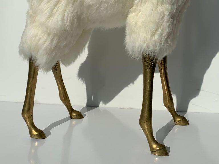 Brass Deer Sculpture in Fur For Sale 4