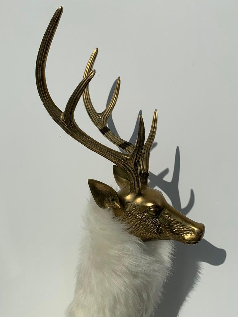 Brass Deer Sculpture in Fur For Sale 5