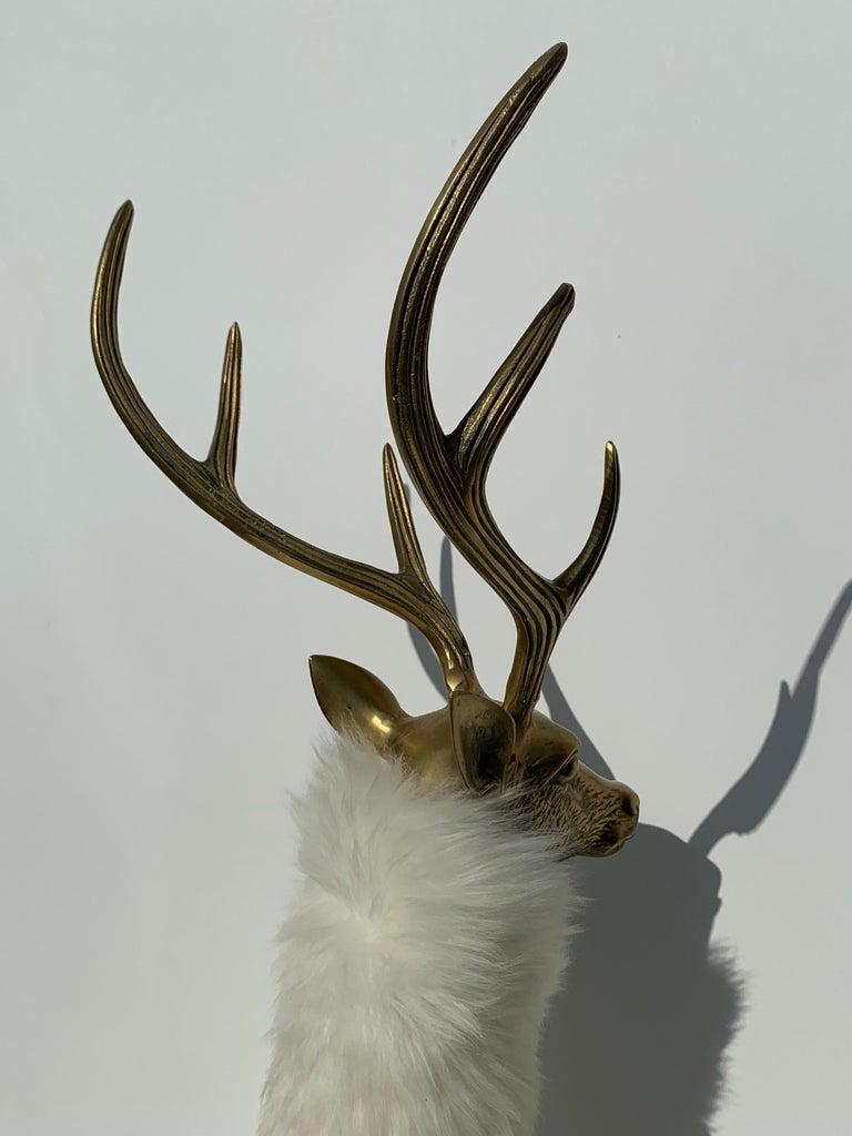 Brass Deer Sculpture in Fur For Sale 6