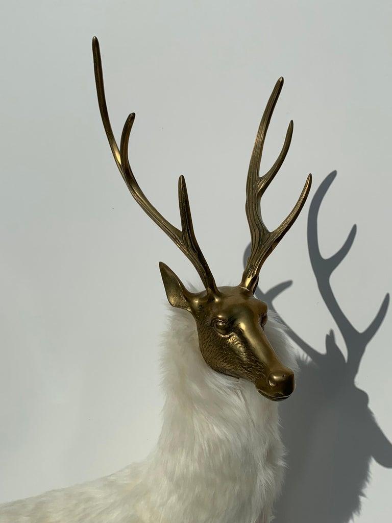 Brass Deer Sculpture in Fur For Sale 7