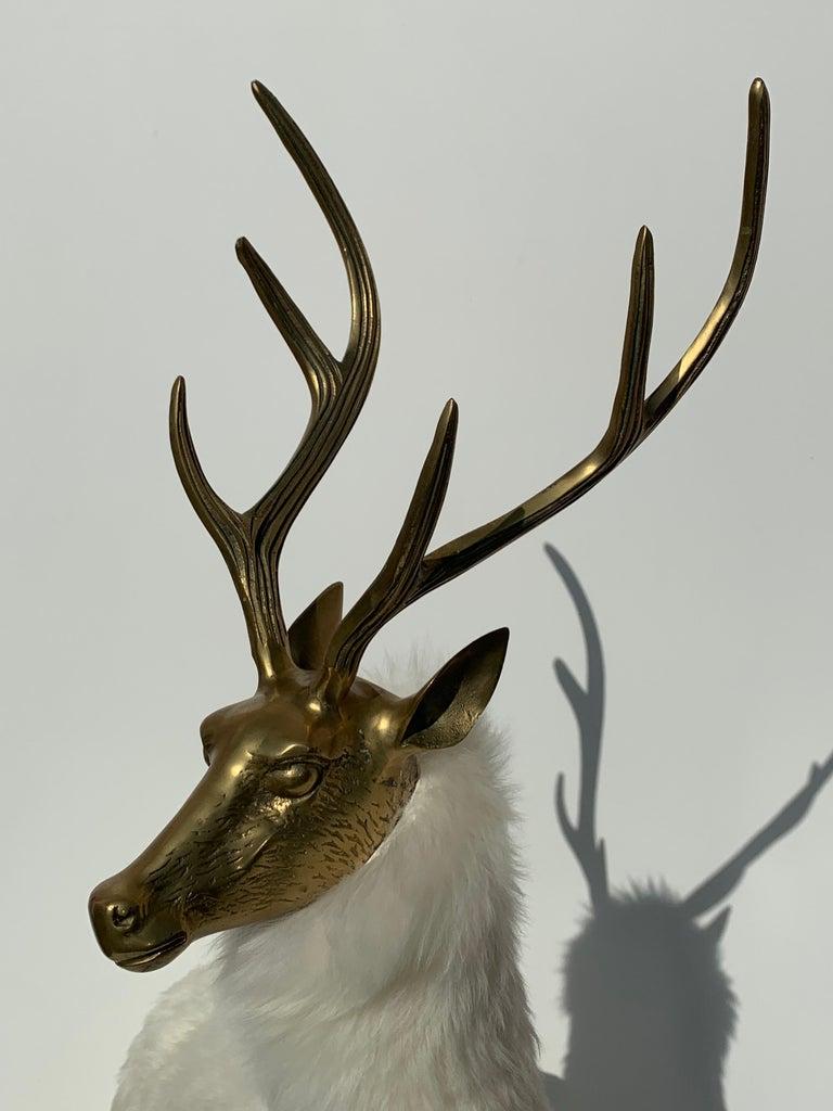 Brass Deer Sculpture in Fur For Sale 8