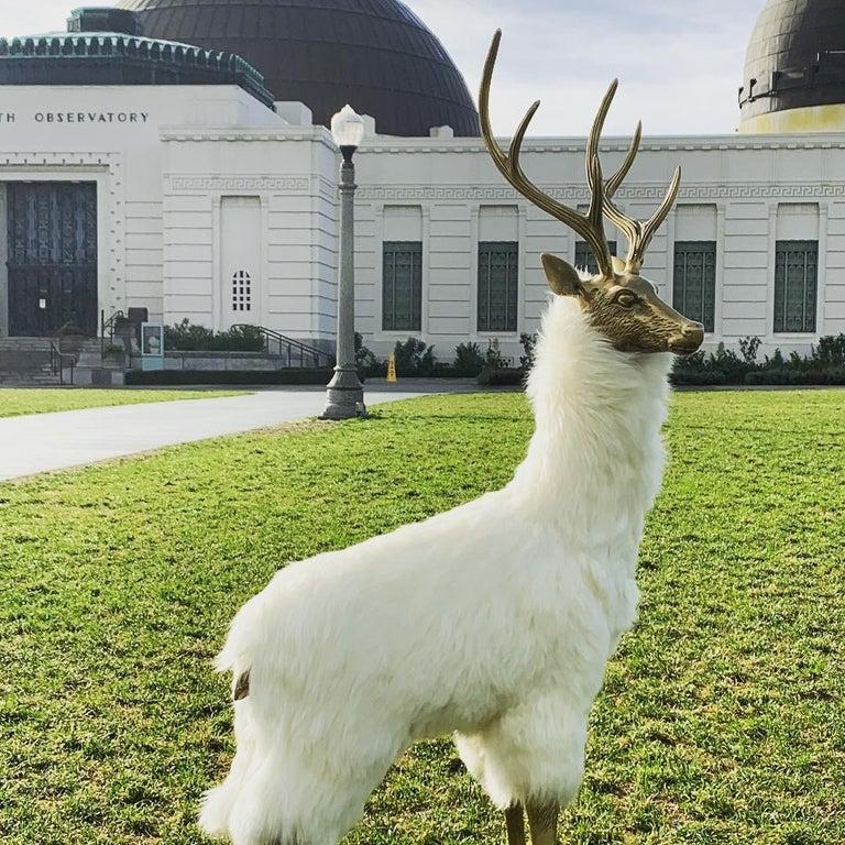 Hollywood Regency Brass Deer Sculpture in Fur For Sale