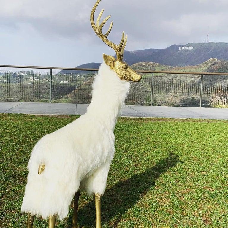 Patinated Brass Deer Sculpture in Fur For Sale
