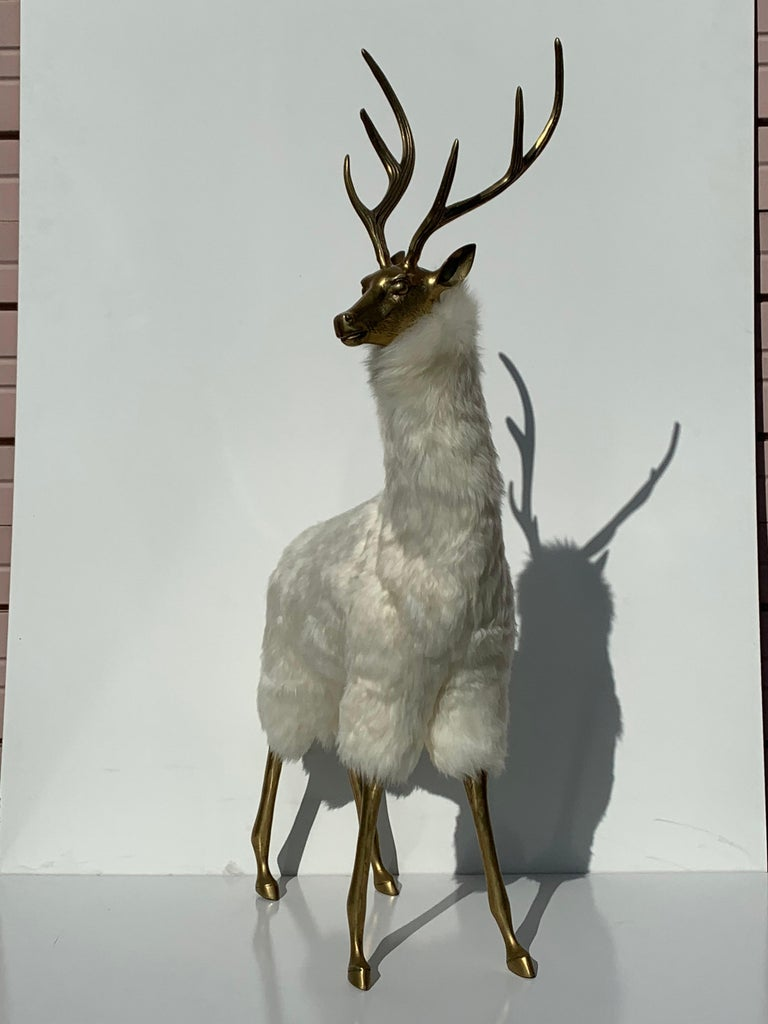 Brass Deer Sculpture in Fur In Good Condition For Sale In North Hollywood, CA