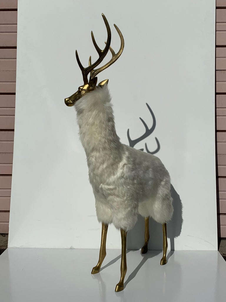 Late 20th Century Brass Deer Sculpture in Fur For Sale