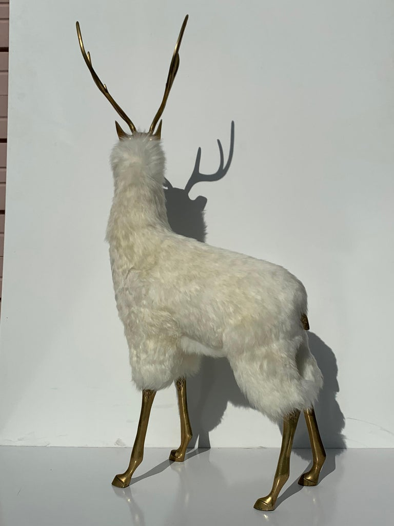 Brass Deer Sculpture in Fur For Sale 1
