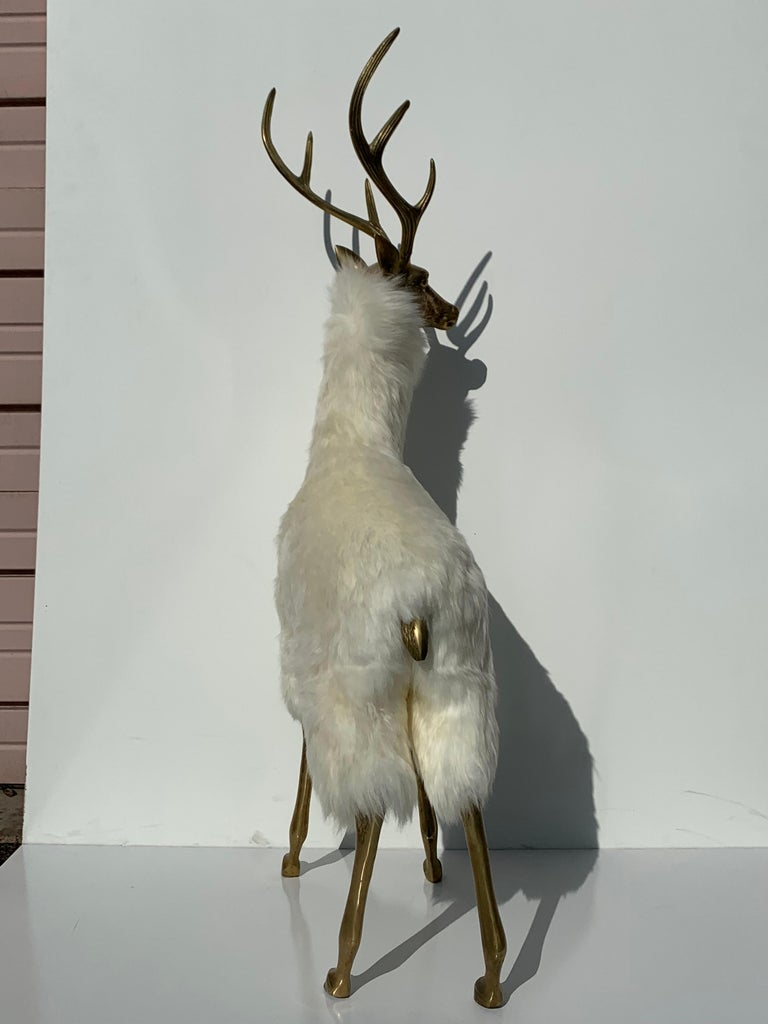 Brass Deer Sculpture in Fur For Sale 2