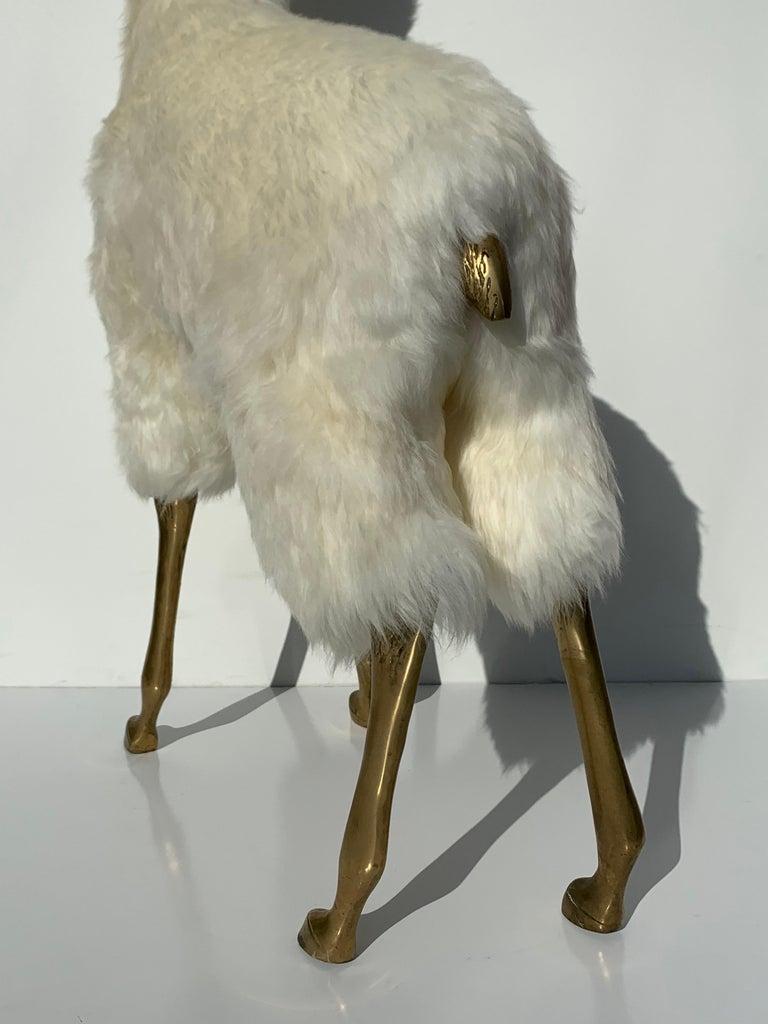 Brass Deer Sculpture in Fur For Sale 3