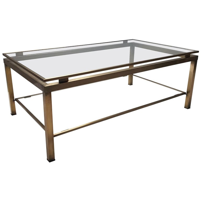 Brass Rectangular 2-Tiers Coffee Table By Maison Jansen