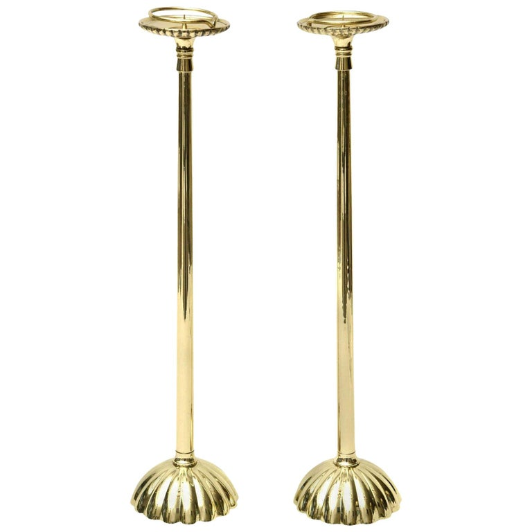 Brass Regal Candlesticks Pair of Vintage For Sale