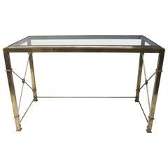 Brass Regency Style Desk with Glass Top