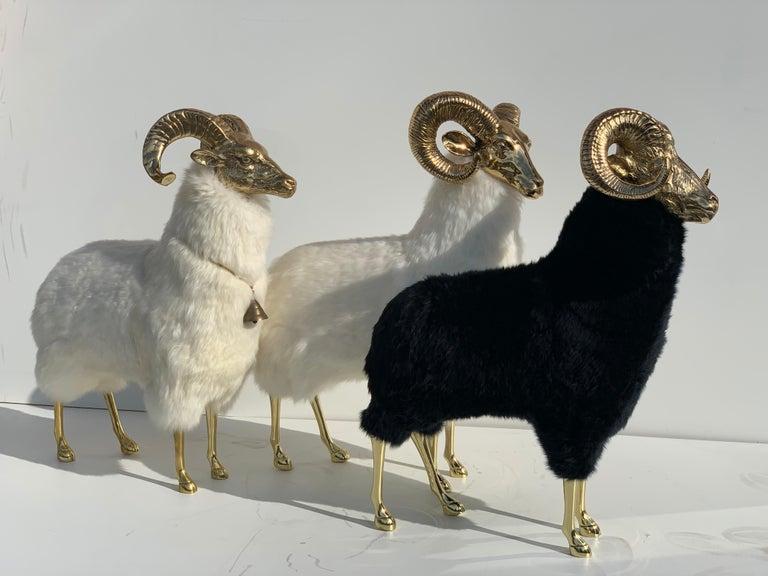 Brass Deer Sculpture in Fur For Sale 11