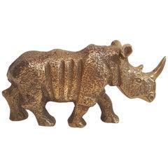 Brass Rhinoceros Figurine 1970s Mid-Century Modern Sculpture