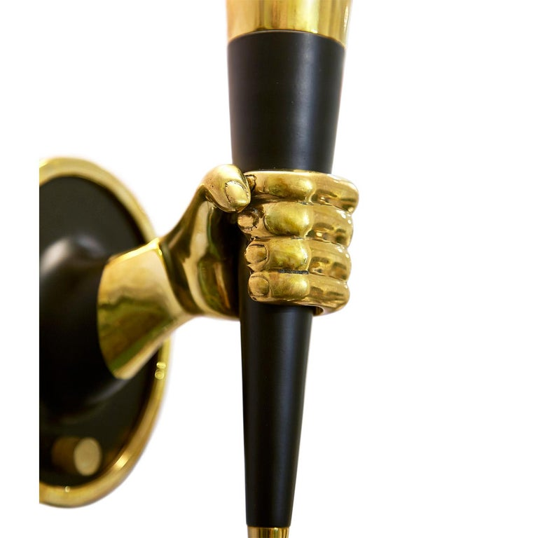 Modern Brass Right Facing Hand Sconce For Sale