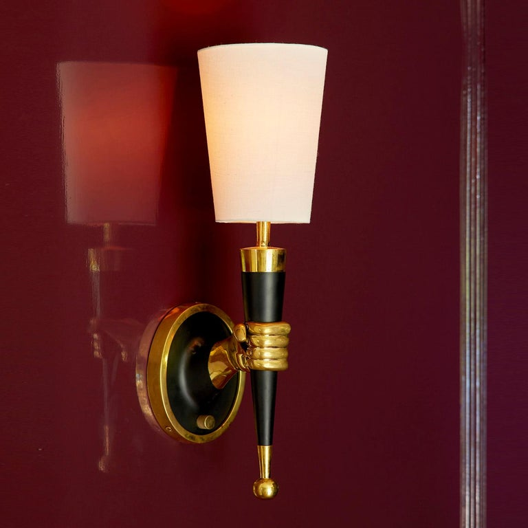 American Brass Right Facing Hand Sconce For Sale
