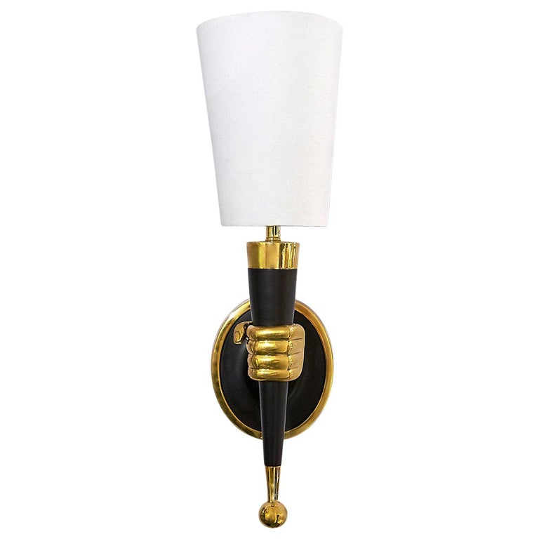 Brass Right Facing Hand Sconce For Sale