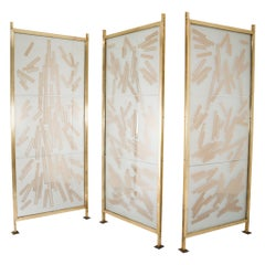 Brass Room Screen/Room Divider in Bohemian Etched Art Glass, Praque