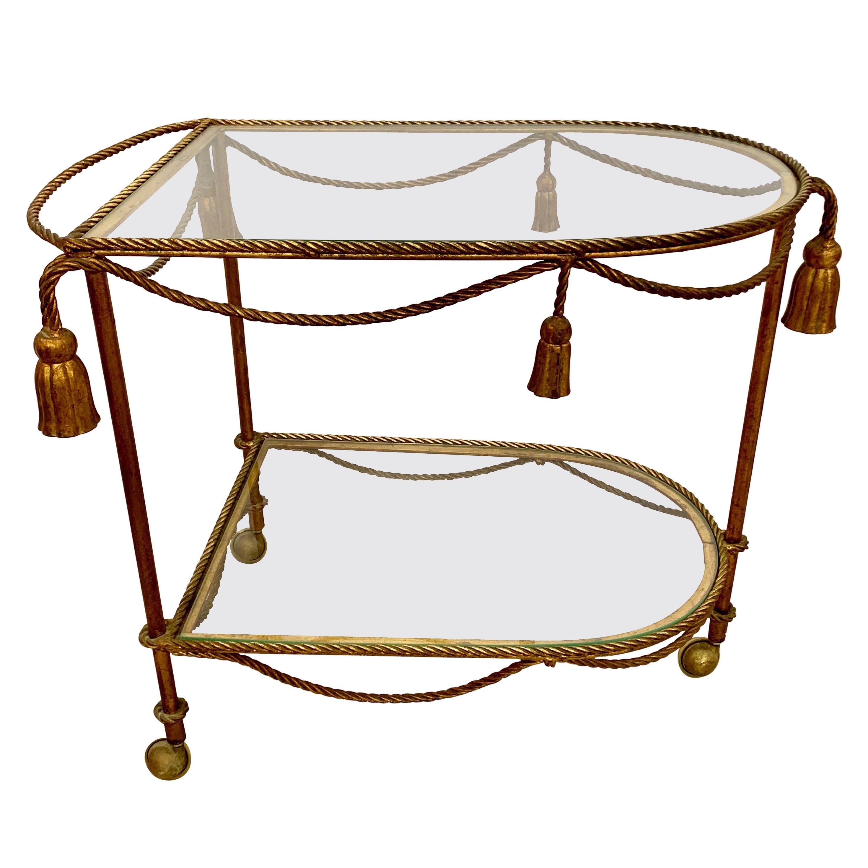 Brass Rope and Tassel Rolling Bar Cart Tea Trolley