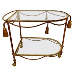 Brass Rope and Tassel Rolling Bar Cart Tea Trolley