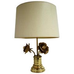 Brass Rose Flower Table Lamp, 1970s
