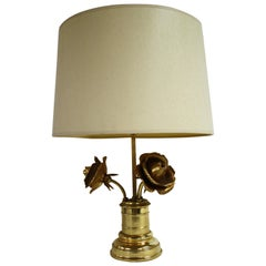 Brass Rose Flower Table Lamp, 1970s