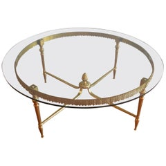 Brass Round Coffee Table with Ornate Apron, Brass Pineapple at Base, Round