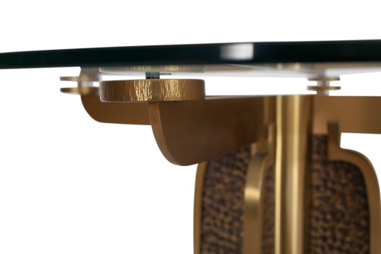 Italian Brass Round Dining Table by Luciano Frigerio, Italy, 1970s For Sale