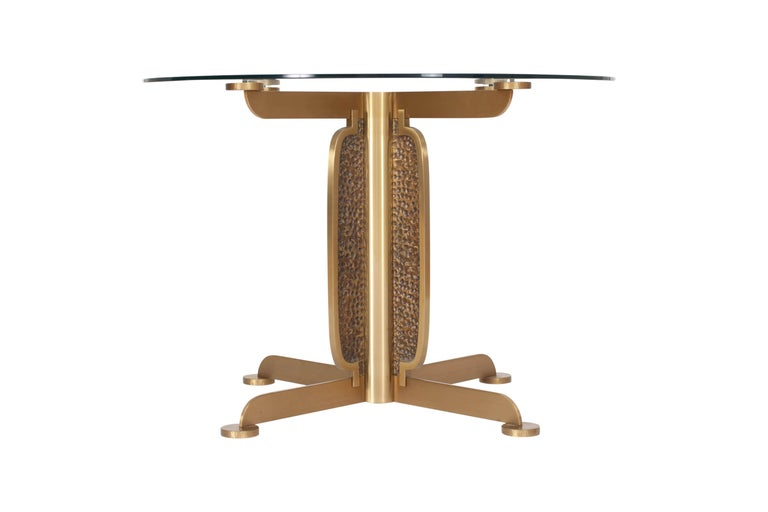 Brass Round Dining Table by Luciano Frigerio, Italy, 1970s For Sale 1