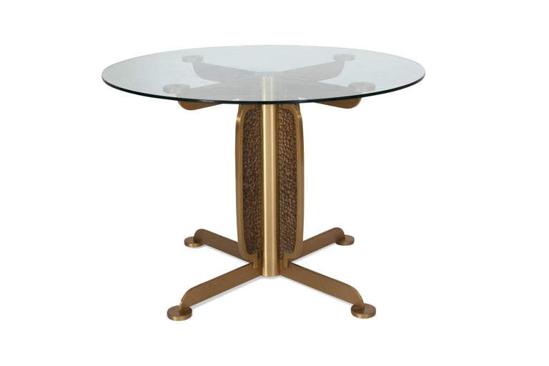 Brass Round Dining Table by Luciano Frigerio, Italy, 1970s For Sale 2