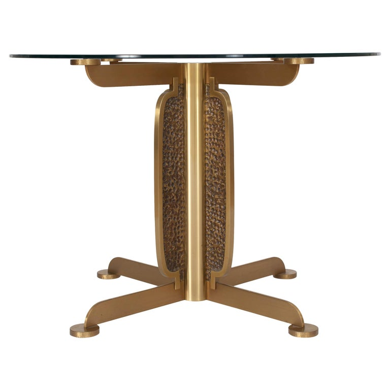 Brass Round Dining Table by Luciano Frigerio, Italy, 1970s For Sale