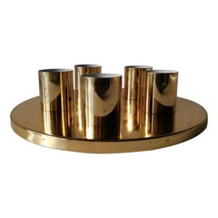 Brass Round Minimalist 5 Socket Ceiling Lamp by Beisl Leuchte, 1960s Germany
