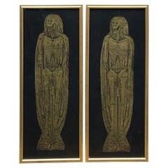 Brass Rubbings of Skeletons from Museum in Frames, Leeds, England 'Pair'