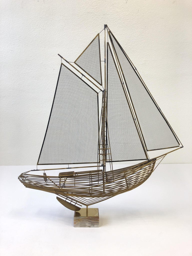 Modern Brass Sailboat Sculpture by Curtis Jere For Sale