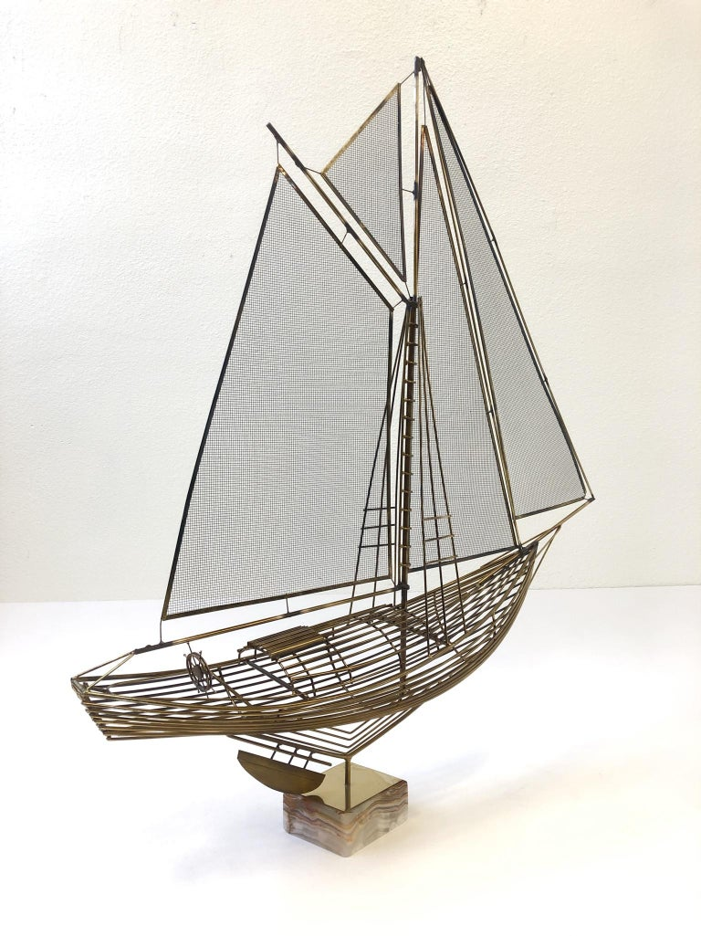 American Brass Sailboat Sculpture by Curtis Jere For Sale