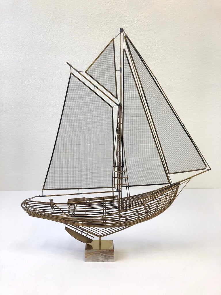 Brass Sailboat Sculpture by Curtis Jere In Excellent Condition For Sale In Palm Springs, CA