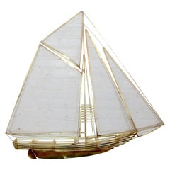 Brass Sailboat Wall Art in the Style of C. Jere