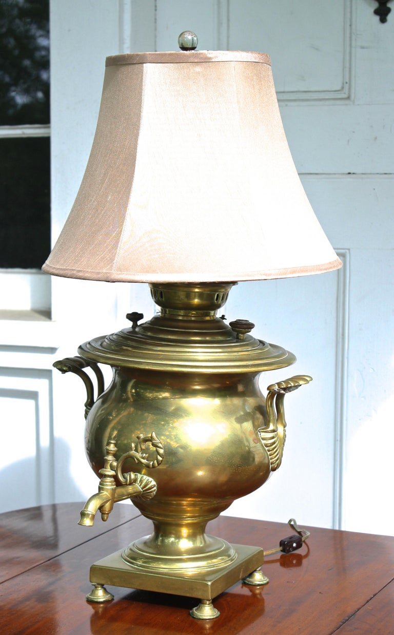 Beaux Arts Brass Samovar Lamp For Sale