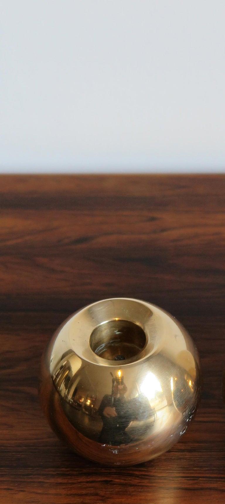 Danish Brass Scandinavian Mid-Century Modern Candleholder Candlesticks, 1950s For Sale