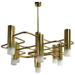 Brass Sciolari Chandelier with 9-Light Points, 1970s